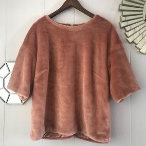 H&M Rose Pale Pink Fuzzy Teddy Sweater L
